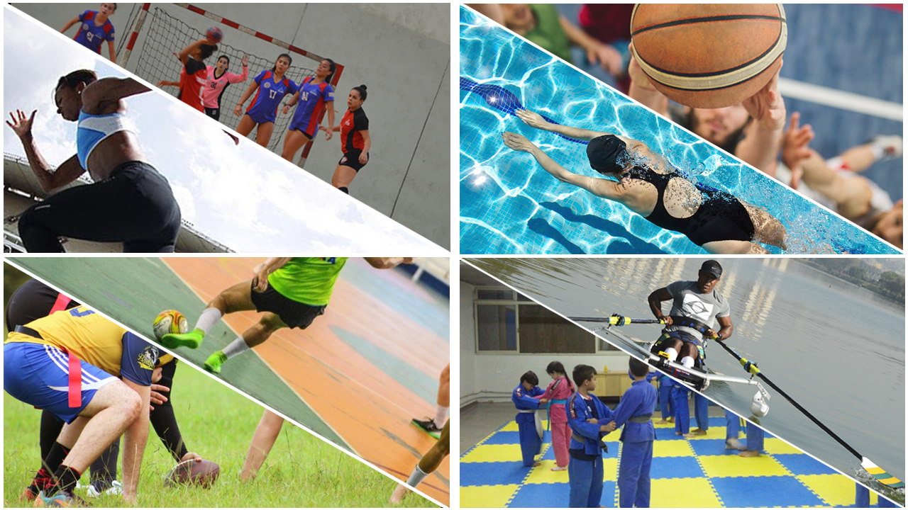 Mosaico com fotos dos esportes de natação, taekwondo, handebol e futebol americano