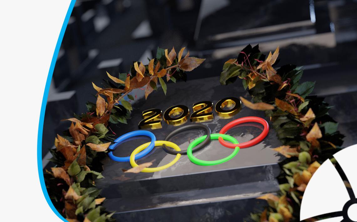 Imagem com os arcos olímpicos