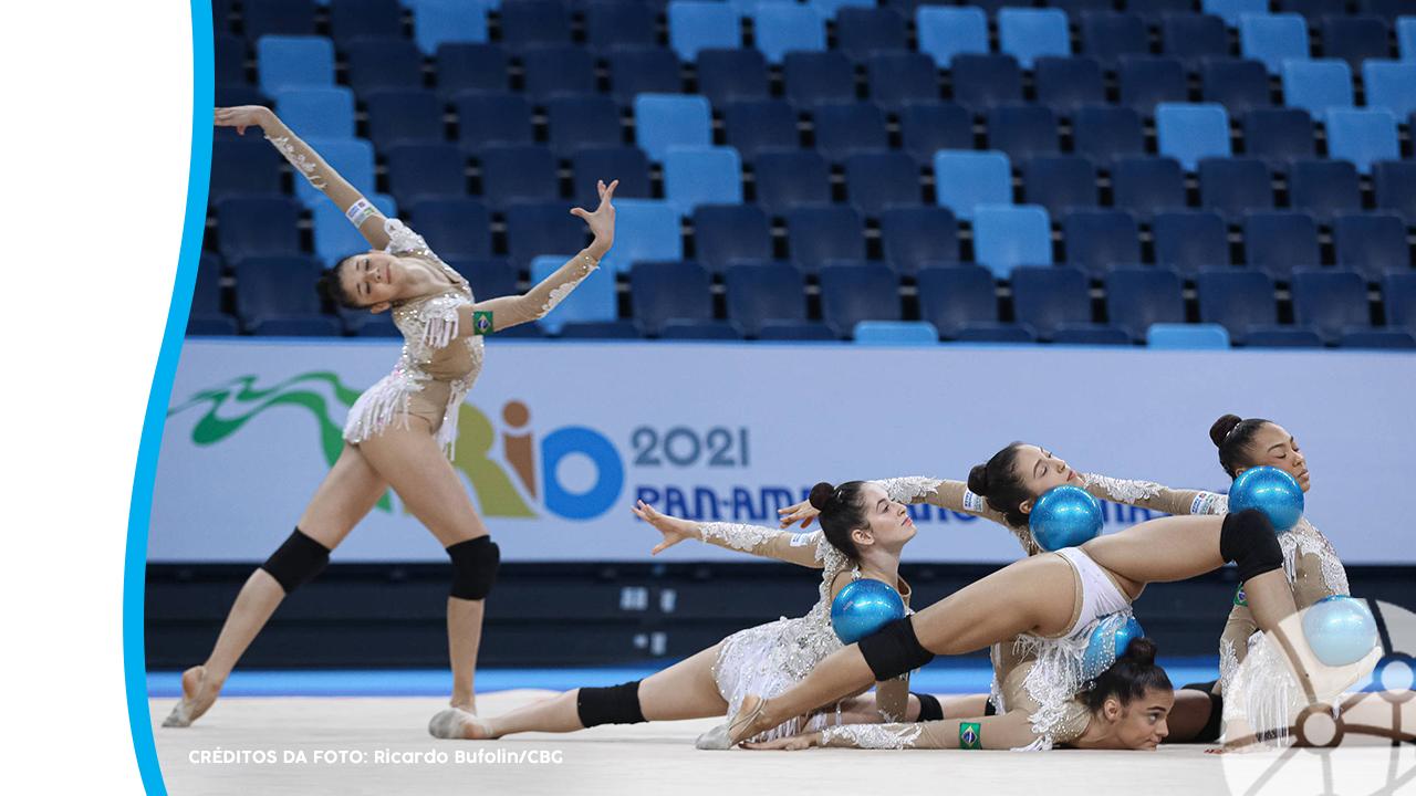 Equipe de ginastas realizando apresentação durante competição